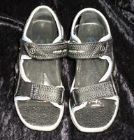 Stride Rite Black, Silver & Blue, Size 11w Unisex Sandals, Velcro Closure