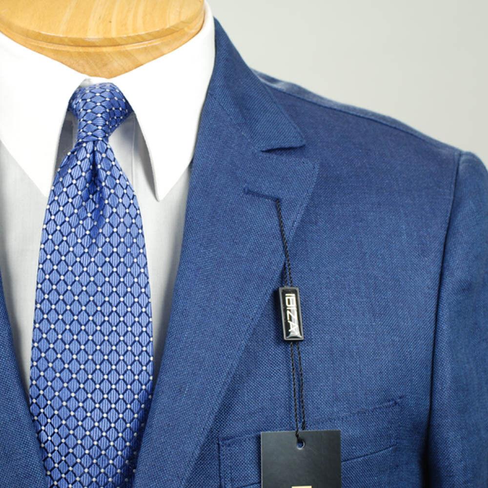 44L  Ibiza 2 Button Indigo Blau Sport Coat - Italian Fabric 44 Long - IB02