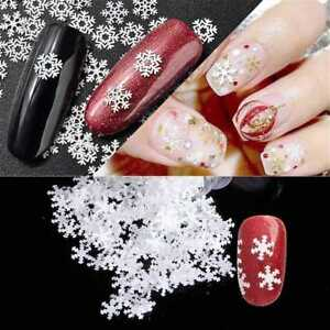1gbox 6mm Nail Art 3d Christmas Snowflakes Stickers Glitter