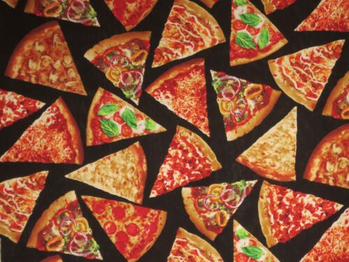 Fat Quarter Pizzas Cotton Quilting Fabric Junk Food Fast Food Pepperoni Yummy