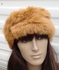 camel beige tan real genuine rabbit fur pelt ear warmer headband unisex hat