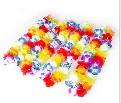 10x Hawaiian Lei Leis Flower Necklace Garland For Tropical Beach Theme Party