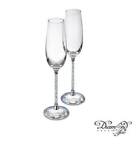 6d86f318dd90 Image is loading New-Pair-of-Swarovski-Crystal-Filled-Champagne-Flutes-