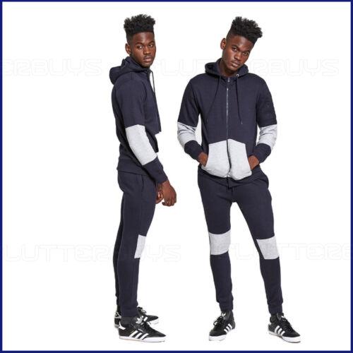 Homme Survêtement Ensemble Polaire à Capuche Haut Pantalon Bleu Marine Jogging Survêtement Gym