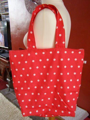 Fatto a mano completamente foderate Tote Bag Shopping Spiaggia Vintage Red ploka dot tessuto