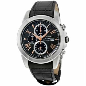 Seiko SSC379 Chronograph Solar Analog Mens Watch Leather Band 100m WR New