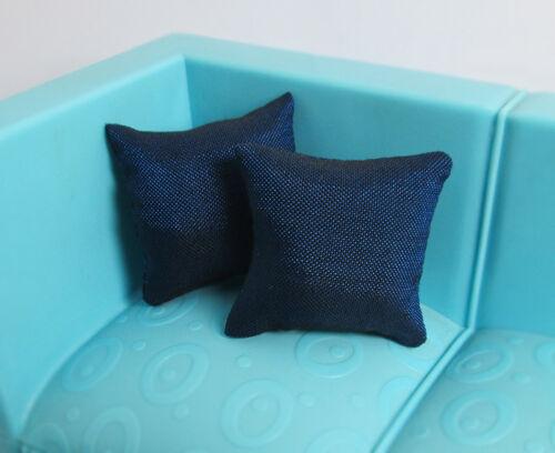 2Pcs Silk Pillow Cushions Dollhouse Miniature Sofa Couch Bed 1//12 Doll Dark Blue