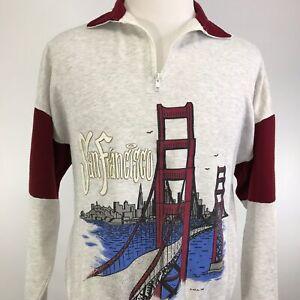 VTG-1995-SAN-FRANCISCO-CITY-SKYLINE-1-4-ZIP-PULLOVER-USA-MADE-SWEATSHIRT-L