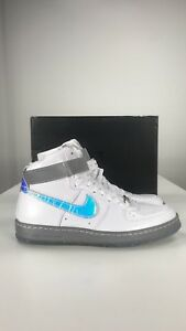 NIKE AIR FORCE 1 AF1 Downtown HI LW QS SZ 10 White Velcro