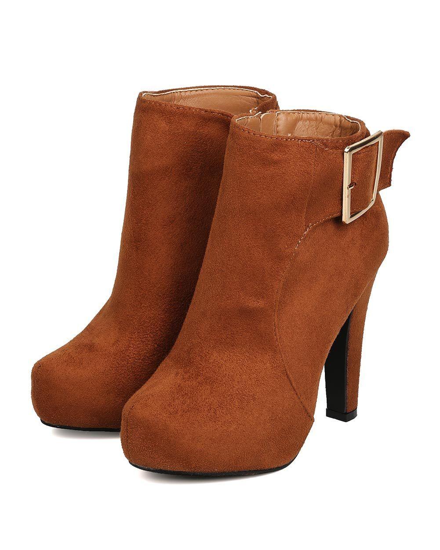 New Women DbDk Furry-8 Faux Suede Almond Toe Buckle Platform Heel Bootie