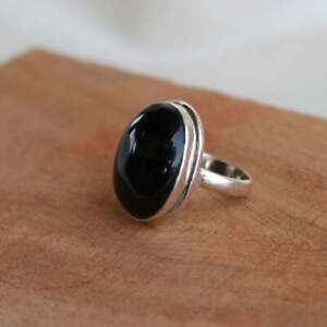 925-Sterling-Silver-Oval-Shape-Black-Onyx-Handmade-Ring-All-Size-KGJ-R-1020