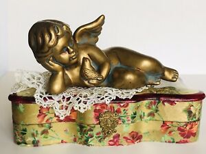 Vintage Ceramic Antiqued Gold Finish CHERUB/Angel Laying Holding a Bird #5908