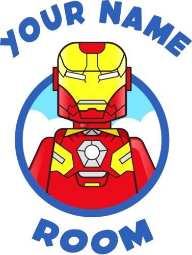 104 LEGO Marvel-Ironman-Personnalisé Chambre//Porte Autocollant