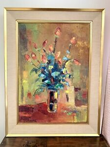 """Sublime HUILE SUR TOILE Grand format, """"Bouquet de fleurs"""", signée Renaud MURAIRE"""