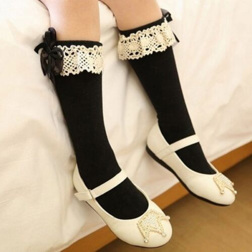 Baby Girl Toddler Kid Bow Lace Frill Knee High Length Warmer School Cotton Socks