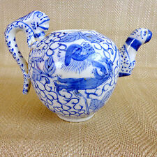 Antique Chinese Teapot Hand Painted Blue & White Dragon Vintage China Mythical