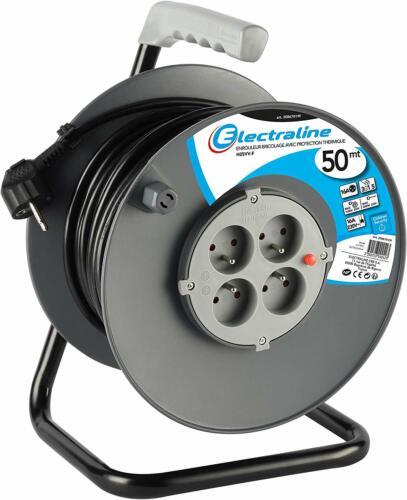Electraline 20867019F Rallonge Prolongateur électrique 50 m avec enrouleur 4 Pri