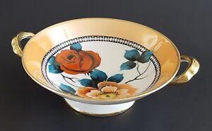 Noritake-M-Peach-Lusterware-Pedestal-Bowl-Hand-Painted-Roses-Flowers-Floral