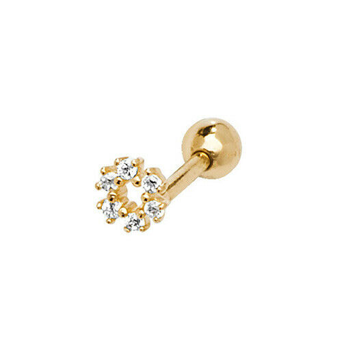Gift Boxed 9ct Yellow Gold 5mm CZ Wreath Helix Cartilage Body Piercing Stud