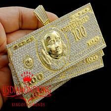 14k YELLOW GOLD SILVER CUSTOM PIECE $100 BILLS STACKS MONEY BIG XL PENDANT CHARM