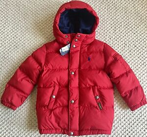 POLO RALPH LAUREN $165 Boys Down Puffer Jacket Coat Hooded Red Navy 5 NWT