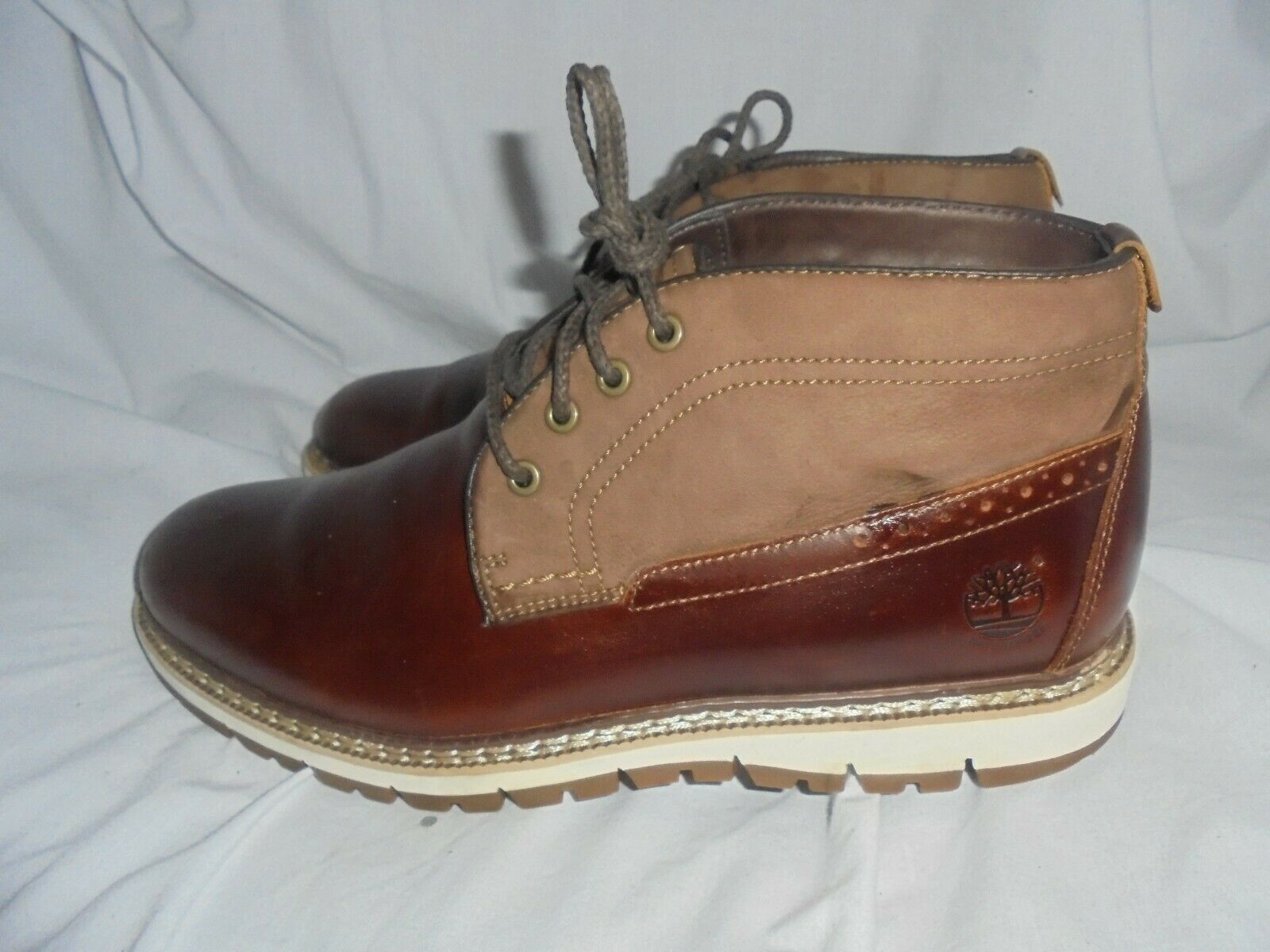 TIMBERLAND MEN BROWN LEATHER LACE UP ANKLE BOOT SIZE UK 8 EU 42 US 8.5 VGC