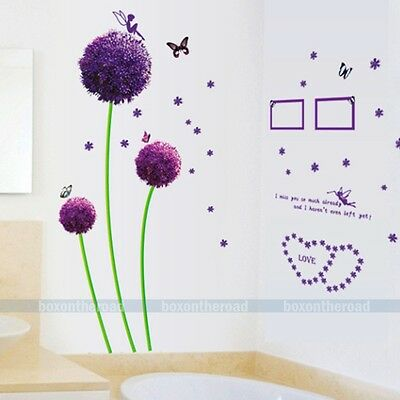 Purple Dandelion Fairy Butterfly Wall Stickers Removable Decal Kids Home Decor