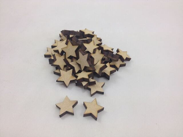 "50 x MDF ""STARS"" - Approx 20mm x 20mm - Embellishments - Shapes - Blank"