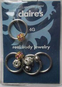 D C 3 Pr Captive Rings Earring Crystal 14g 1 2 Surg Steel Body