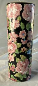 Vintage Otagiri Japan Black Porcelain Vase Pink Roses Gold Oval Makeup Holder