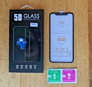 iPhone X Screen Protector 5D Glass Full Cover Tempered, Ultra HD 3D NEW!!