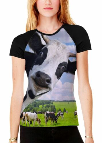Cow Cuisinière Funny Women/'s All Over Print Graphic Contrast Baseball T Shirt