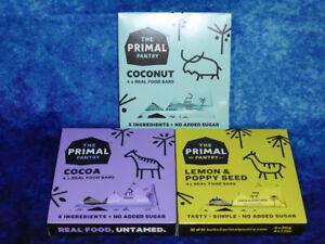12x THE PRIMAL PANTRY Real Food 30g Bars 4xCocoa 4xCoconut 4xLemon & Poppy Vegan