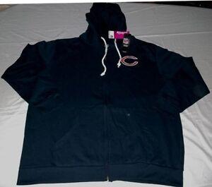 Chicago Bears Full Zip Hoodie Ladies 1XL Navy Distressed Womens ... 6c736ce01