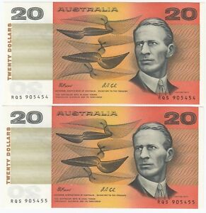 Australia-039-Fraser-Cole-039-20-1991-Crisp-Uncirculated-Consecutive-Pair