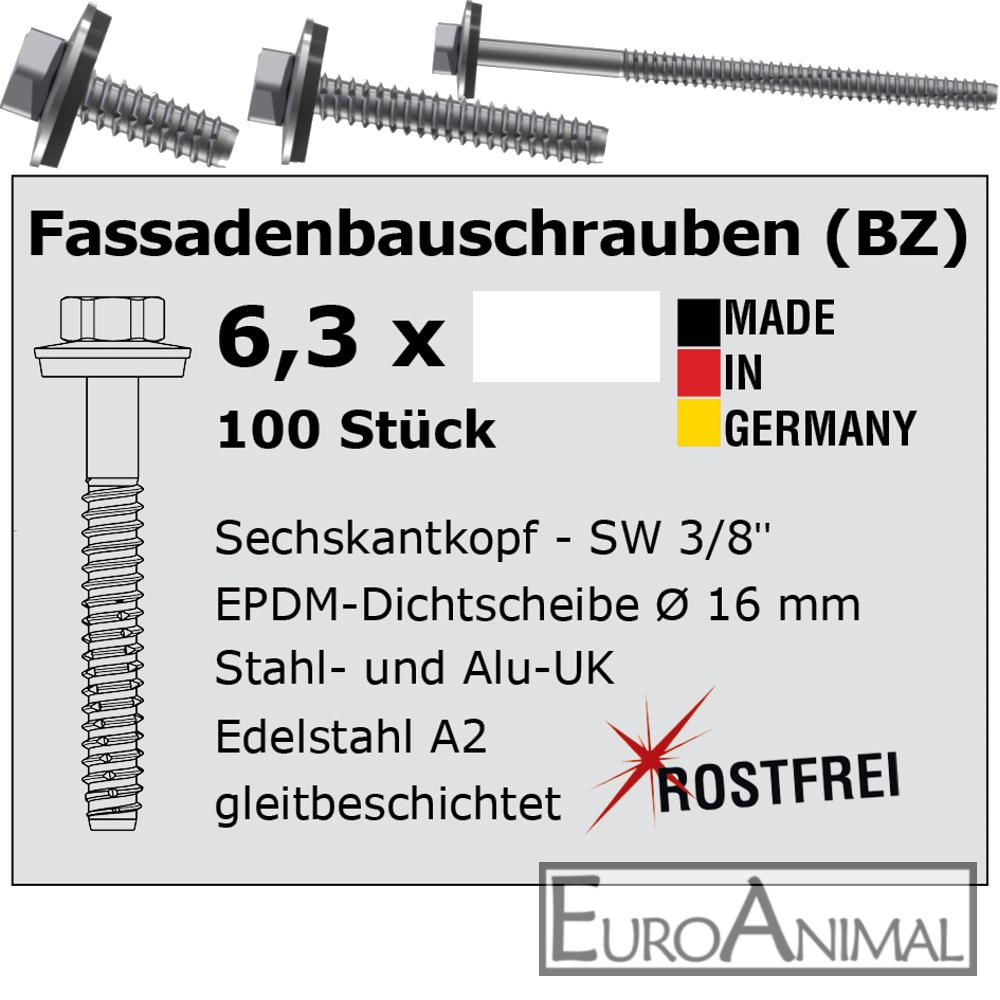 Fassadenbauschrauben  Schrauben für Trapezblech V2A 6,3mm E16 Typ BZ Edelstahl