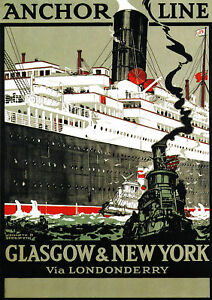 TX43 Vintage 1930/'s Scotland Anchor Line Scottish Travel Poster Re-Print A4