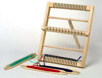 TOY SMALL SOLID WOODEN WEAVING LOOM CRAFTWORK ITEM & THREE  SHUTTLES GIRLS GIFT