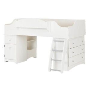 South S Furniture Imagine Pure White Twin Loft Bed 3560a3