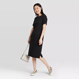 Details about Women's Short Sleeve Midi T-Shirt Dress - A New Day CHOOSE COLOR&SIZE