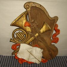 VNT 1972 Homco Music Instraments Violin Harp French Horh Music Book Wall Plaque