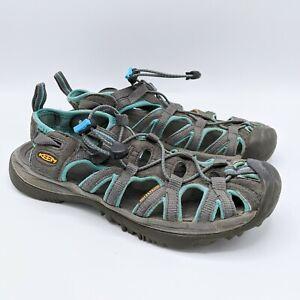 Keen Whisper Fisherman Sport Sandals Waterproof Gray Teal Hiking Women's Size 8