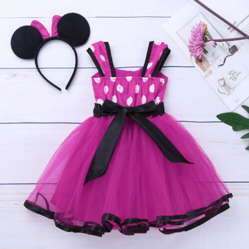 Girls Kids Baby Princess Mouse Dress Party Polka Dot Tutu Fancy Costume Outfit