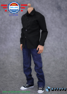 【FREE SHIPPING】1/6 BLACK Long Sleeves Shirt Blue Jeans for 12 MALE Figure