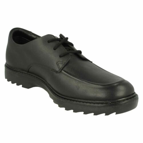 Boys Clarks Black Leather Lace Up School Formal Shoes ASHER GROVE