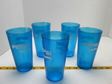 Lot of 5 Pepsi Glasses 16 oz Blue Plastic Cup Pepsi-Cola Made in USA SKU B S