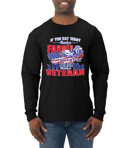 Thank a Farmer Thank a Veteran Eat In Peace Mens Long Sleeve Shirt