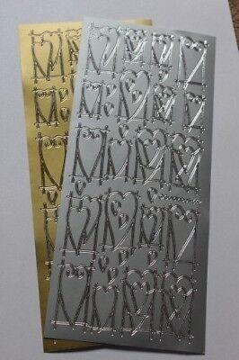 2 X Adesivi Peel Off-argento/oro Cuori, Anelli, Numeri, Matrimonio, Parole, Love- Assicurare Anni Di Servizio Senza Problemi