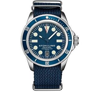Stuhrling Unisex 20 ATM Water Resistant Divers Watch Nylon Strap Highly Luminous