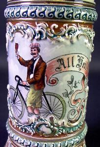 antiker-Radfahrer-Fahrrad-Bierkrug-um-1890-J-G-N-All-Heil